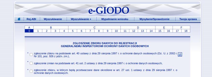 Rejestracja bazy danych w GIODO