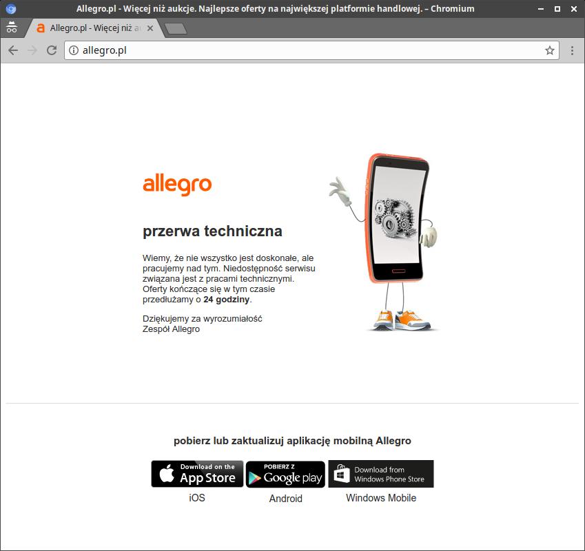 Allegro Nie Dziala A Czasami I Inne Gigantyczne Strony