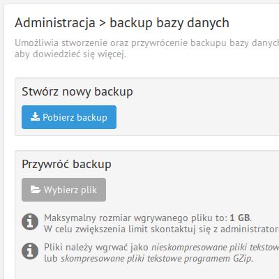 Backup i przywracanie bazy danych